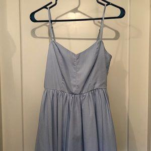 Blue and white stripe dress.  Adjustable straps.